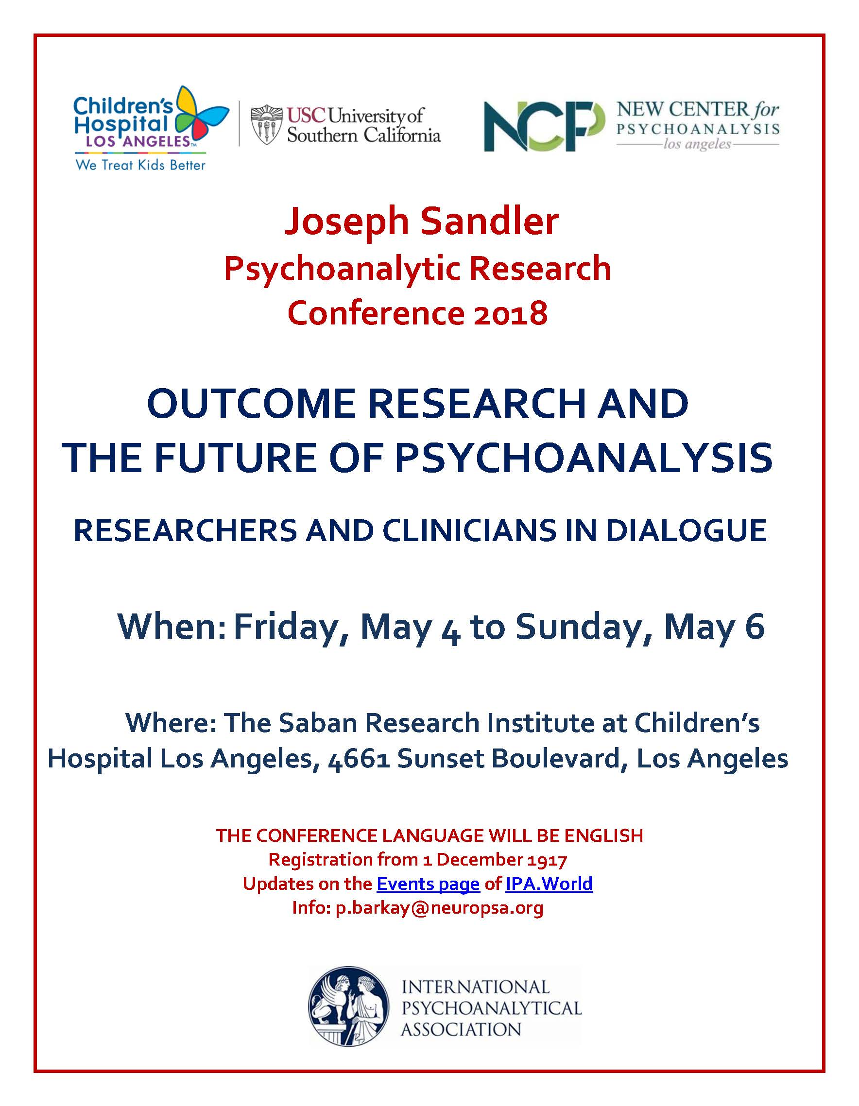 Joseph Sandler  Psychoanalytic Research  Conference 2018
